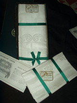 Vintage 1920 Shamrock Celtic Pattern Irish  Double Damask Linen Tablecloth 8 Napkins Unused In Box