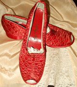 Old Stock 1940s Vintage Rose Quilted Peep Toe Wing Step Bed Slippers