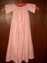 Civil War Victorian Hand Stitch Long Pink Muslin Baby Children Dress