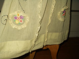 Vintage 1920 Woman Hand Embroidery Home Sewn Dress Lace Trim Voile Fabric