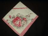 Antique Victorian Large Cotton Handkerchief Pink Rose Motif