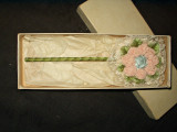 Vintage 1920 Flapper Powder Puff Vanity Wand Lace Silk Ribbon Rosette With Box