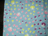 Vintage 1940 Rayon Dress Fabric Yardage Blue With Floral Motif