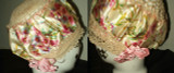 Hand Crochet Silk Printed Floral Ribbon 2 Vintage Flapper Bed Bonnet Caps Unworn