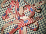 Vintage Patriotic Stars Stripe Flag Ribbon 1930 Cotton Rayon Woven Unused