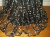 Vintage 1930 Evening Gown Party Formal Dress Sheer Black Dotted Swiss Pique Trim