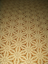 """Vintage Hand Crochet Lace Tablecloth Ecru Color 54"""" x 64"""" Scallop Edge"""