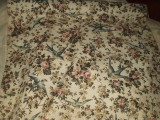 Vintage Doily Table Linens Keeper Case Blue Birds Floral Textile Fabric Roll
