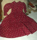 Early Maroon Calico Doll Dress Treadle Machine Sewn Victorian 1900's