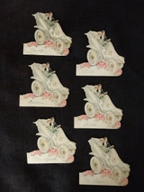 6  Vintage 1920 Wedding Table Place Cards Bride Groom Slipper Auto