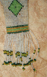 Vintage Art Deco 1920 Beaded Belt Sautoir Necklace Woven Geometric