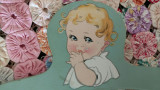 Child's Painted Wood Depression Clothes Hanger  Vintage 1930's Baby Face