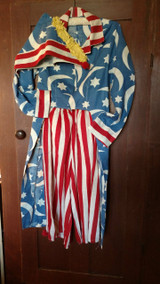 Early 1900's 1920 Patriotic Uncle Sam Costume Stars Coattails Americana