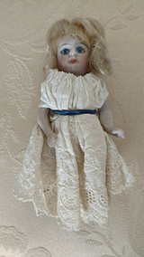 "4"" Jointed Bisque Doll 1900's  Mohair Wig Glass Eyes #205  Home Sewn Dress"