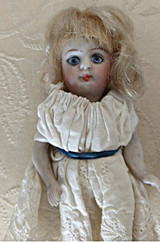"""4"""" Jointed Bisque Doll 1900's  Mohair Wig Glass Eyes #205  Home Sewn Dress"""