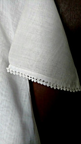 1930 Toddler Girl Dress Vintage White Cotton Filet Crochet Lace Yoke