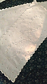Victorian Embroidered Pincushion Covers Top Bottom White Linen