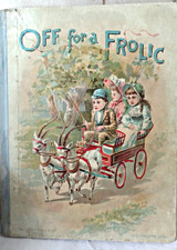 Victorian Children Storybook Graphic Cover Children Wagon Goats