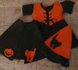 Vintage Halloween Witch Doll Costume 1950s Wool Felt