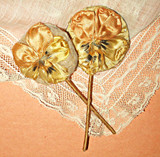 Doll 1920s Ribbon Rosette Powder Puff Wand Mirror Vintage Flapper