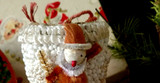 Vintage 1950 Christmas Candy Container Japan Shoe Chenille Santa Boot