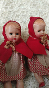 Vintage Celluloid Little Red Riding Hood Doll 1950s Mint 5 1/2 Inches