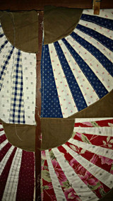 Vintage Fan Quilt Block Pieces 1920s Treadle Machine Sewn Multi Fabrics