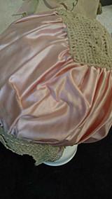 Silk Satin Ribbon Bed Bonnet Vintage 1920s Lingerie Crochet Trim