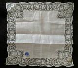 Vintage Handkerchief White Linen Lace Edging Unused Original Tag