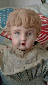 Vintage Compo Cloth Doll Tin Head Blue Calico Dress  1920s AS IS