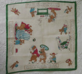 Handkerchief Vintage Children Hankie Goldilocks Bears 1930s 1940s