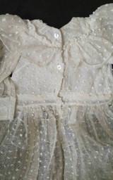 Vintage Doll Dress Bonnet Home Sewn 1930s Dotted Swiss Ruffles  Lace Trim