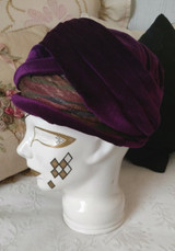 1920s  Flapper Cloche Hat Purple Velvet  Multi Color Trim Lined Inside