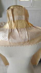 Victorian Lappet Collar Silk Woven Embroidery Ribbon Cream Gold