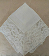 Vintage White Handkerchief Alencon Lace Edge Bridal Wedding Hankie