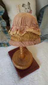Vintage Farm Girl Straw Sunbonnet Hat Pink Check Fabric Doll Size 1920s