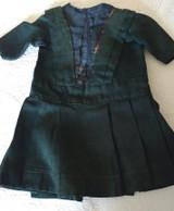Victorian 1890s Doll Dress Green Wool Taffeta Inset AS IS