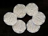 6 Linen Coasters For Stemware Vintage 1940s 1950s Machine Needle Lace