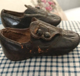 Antique 1880s Baby Shoes Low Cut Button Black Leather With Note