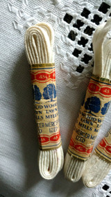 3 Victorian 1900s Corset Or Shoe String Laces  Metal Tips  Original Wrapper Package
