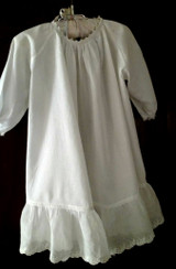Baby Doll Dress Edwardian 1920 Batiste Ruffle Hem Ribbon Drawstring