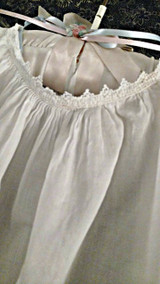 Baby Doll Dress Edwardian 1920 Batiste Ruffle Hem Ribbon Drawstring
