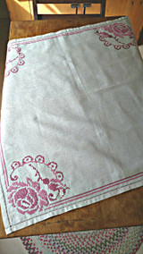 Vintage Tablecloth Cross Stitch Embroidery 1950  Linen Cloth Rose Motif