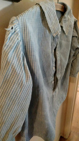 Child Homespun Blue Stripe Shirt 19th Century Primitive Well Worn