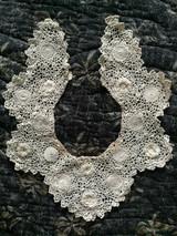 Vintage Irish Crochet Dress Collar Rosette Motif Edwardian 1920s