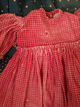 1890s Old Primitive Red Doll Dress Red White Check Fabric Treadle Sewn