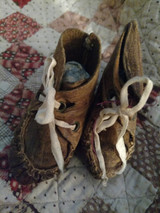 Old 19th Century Doll Moccasins Shoes Brown Leather Hand Stitched