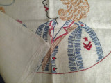 Vintage Embroidered World War II Woman Cadet Pillow Cover