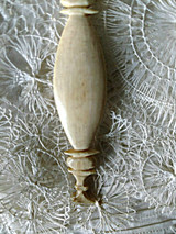 Old Bone Sewing Thread Winder Carved Crane Bird Figure 19th Century