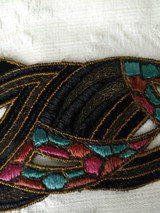 Art Deco Dress Hat Embroidery Trim French 1920s Flapper Embellishment